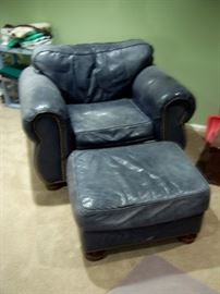 Leather chair & ottoman.