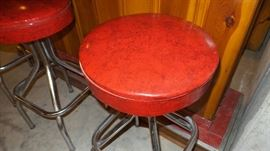 Vintage Red Vinyl & Chrome Bar Stools ~ Sold With Bar As Set