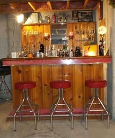1950's Knotty Pine And Red Crackle Ice Formica Bar With Lighted Bar Back With 3 Red Vinyl And Chrome Bar Stools ~ SO COOL