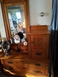 Antique dresser and shaving mirrors