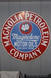 Magnolia Petroleum Company Sign.  Magnolia Petroleum was formed in 1911 from the Combination of several Texas Oil Companies, one being Navarro Refining Company of Corsicana.   Magnolia was basically formed due to anti trust case the state of Texas field on these companies due to their supposed connection with Standard Oil.