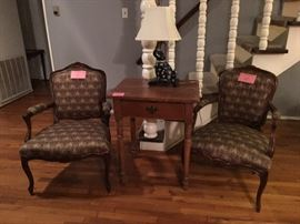 Antique style arm chairs and an antique primitive table, circa 1880