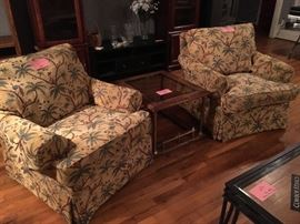 Tropical lounge chairs and retro brass base end table, circa 1980