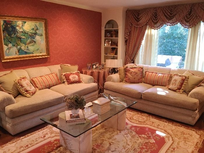 Pair of sofas & Curtains (COFFEE TABLE NOT FOR SALE)