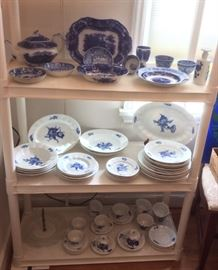"Flow Blue china including ""Nonpareil"" by Middleport Pottery, (note teapot & serving bowl), many pieces of Royal Copenhagen ""Blue Flowers"" (Denmark) including teapot & covered casseroles (not shown)"