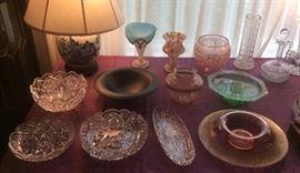 """Brilliant cut crystal bowls, Chinese ginger jar lamp, black satin glass bowl , """"folded"""" Bristol glass vase, multi-color glass vase, pink & green Depression glass bowls & vases, cut crystal vases & decanter"""