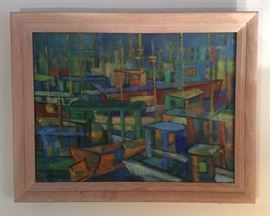 """Fisherman's Wharf"", abstract painting on board, dated 1947, framed size 21"" x 27""."