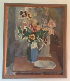 "Untitled floral still life by Walter F. Isaacs, former Univ. of Washington art professor (1886 - 1964) Oil on canvas, 22"" x 26"", no date."