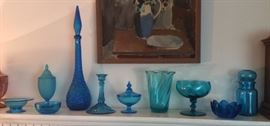 Pretty blue glass including tall Italian decanter & Blenko lotus bowl