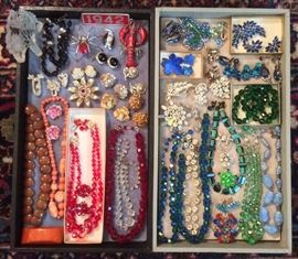 Sparkly vintage jewelry - rhinestones, Austrian crystal, Denmark enamel on silver pin & earrings, some signed pieces...
