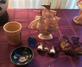 Caramel glass tumbler, Moorcroft Clematis bowl (with orig. paper label), blue glass stopper, French opera glasses, mother-of-pearl sailing ship, amethyst crystal
