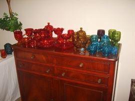 Nice collection of Moon and Star pattern glass in several colors.