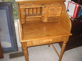 Small Oak Roll Top Secretary Desk
