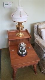 Side table with storage; beautiful oil lamp; thimble collection