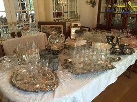 Crystal  Glasses Silver plated Serving pieces