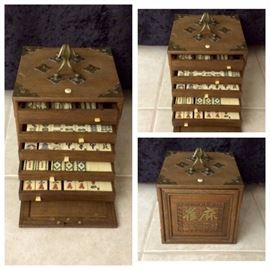 "Antique 8"" square bone and bamboo Mah jongg set with wood carrying case."