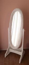 Wicker dressing mirror