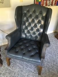 Pair of Blue Leather Wing Back Chairs