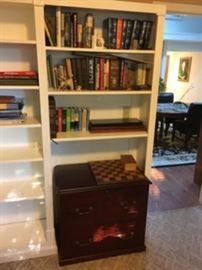 Books and Wood Filing Cabinet