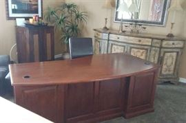 Cherry Wood Desk with Built-In Safe