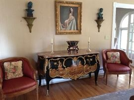 Chinese Marble Top Commode, Pair of Rams Head Chairs