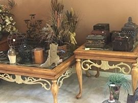 End tables and coffee table and decor
