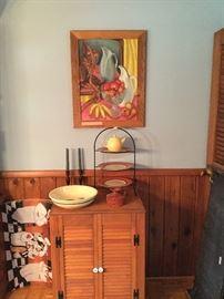 Louvre  door cabinet, Watt pottery spaghetti bowl, Italian pottery pitcher