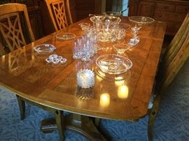 Dining room table with 6 matching chairs (2 arm and 4 side), impressive collection of candlewick glass
