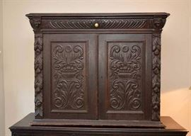Antique Carved Wood Cabinet with Drawer