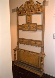 19th Century English Hall Tree with Coat Hooks & Lion Crest