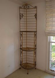 Antique Iron Corner Shelf with Yellow Paint (Quite Tall)