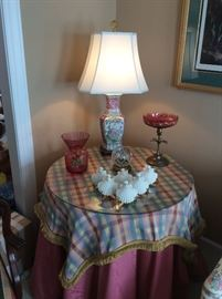 Oriental Lamps, Cranberry Class, Shell Ornaments