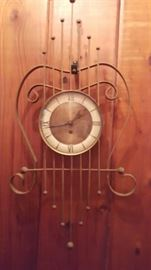 Mid Century Harp Metal clock