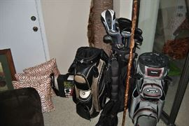 Golf Clubs including Ping, Adams, Generix,.  Golf bags- Bag Boy, Nancy Lopez,
