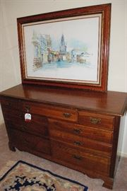 original signed art- solid wood chest of drawers