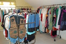 clothes & lingerie- some vintage  some mens & few kids & jrs - some plus size -little of everything some designer names also