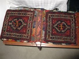 Persian camel saddlebags, hand knotted, brought from Iran in the 1950's.