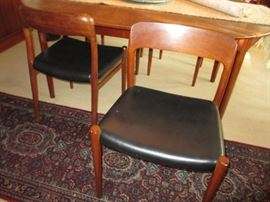 mid century danish modern rosewood table and chairs