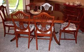 Dining table, three leaves, five side chairs & one host chair