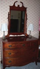 Five drawer dresser with cheval mirror to bed set
