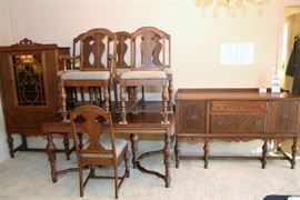 Antique Dining Set includes China Cabinet, Buffet, Table and 6 Chairs