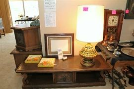 Coffee Table and Two End Tables, Oil Paintings, Very Large Lamp