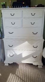 Bedroom set includes 2 dressers, bedside table, and full headboard.