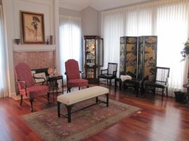 Pulaski Lighted Curio Cabinet, Old Oriental Screen, Cane back Leather bottom chairs, Very nice bench
