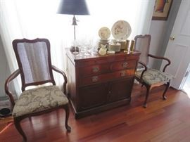 "Buffet by Drexel, Cane Back Chairs, Castleton China ""Ascona"""