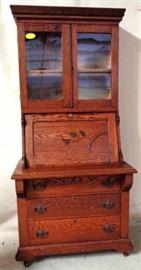 Oak Victorian slant front secretary