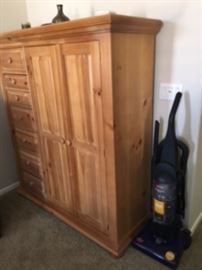 UPRIGHT VAC, PINE ARMOIRE