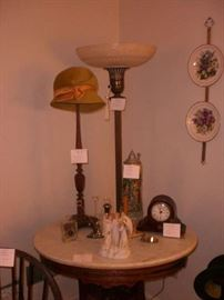 HAT STANDS  TORCHAIRE LAMP, CLOCKS