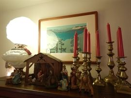 Antique Lamps and Lots of Brass Candlesticks