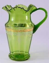 Lot 2:  Vintage Blown Ruffled Edge Green Pitcher